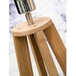 Lampe sur pied en bambou et abat-jour lin écologique EVEREST (naturel, gris clair)