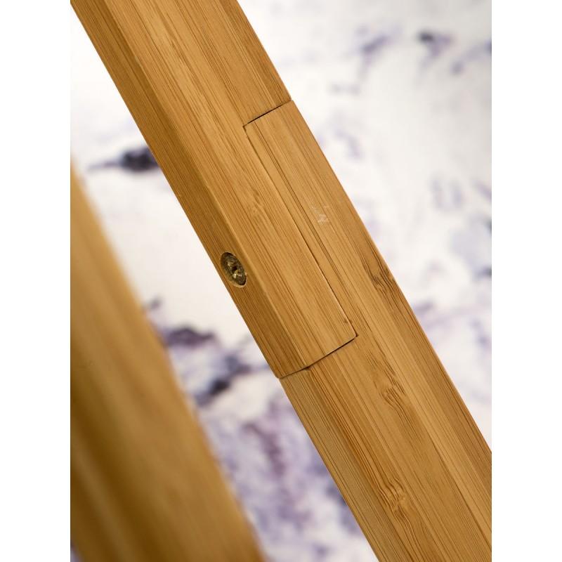 Lampe sur pied en bambou et abat-jour lin écologique EVEREST (naturel, gris clair) - image 44574