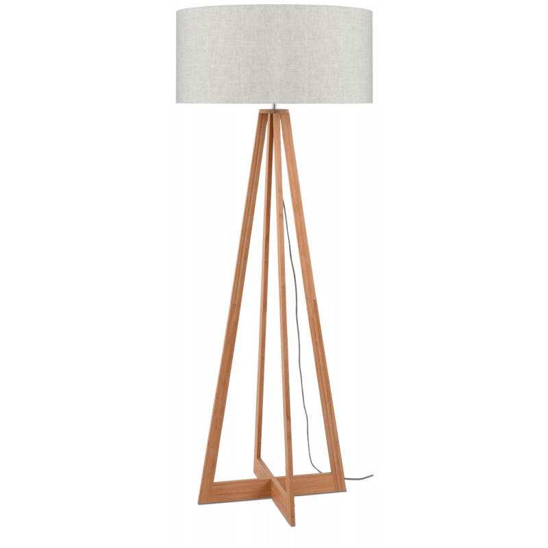 Lámpara de pie de bambú EverEST y pantalla de lino ecológico (natural, lino ligero)