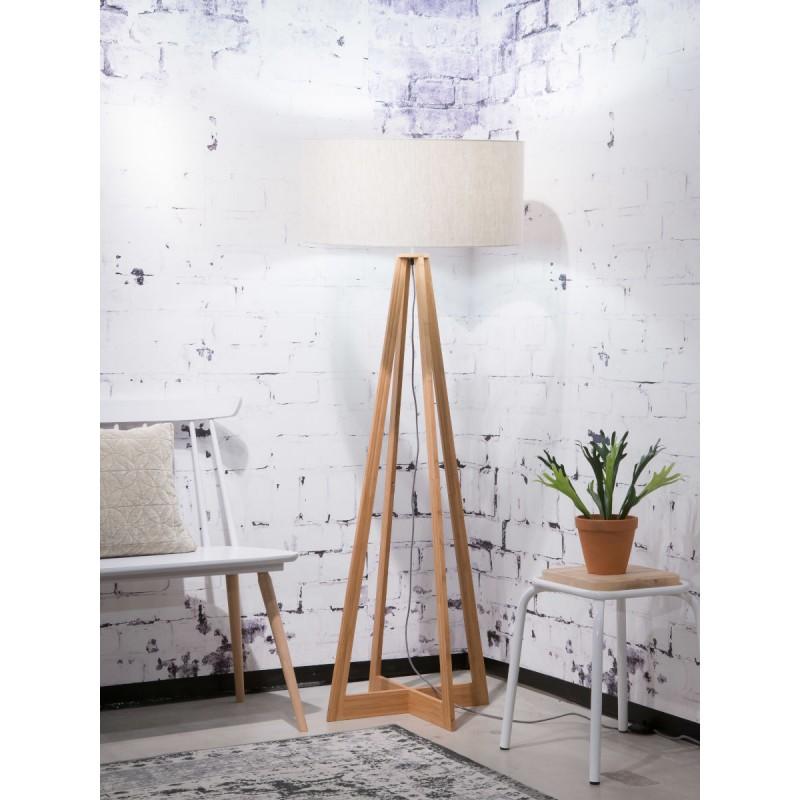 Lampe sur pied en bambou et abat-jour lin écologique EVEREST (naturel, lin clair) - image 44577