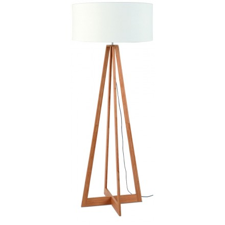 Bamboo standing lamp and everEST eco-friendly linen lampshade (natural, white)