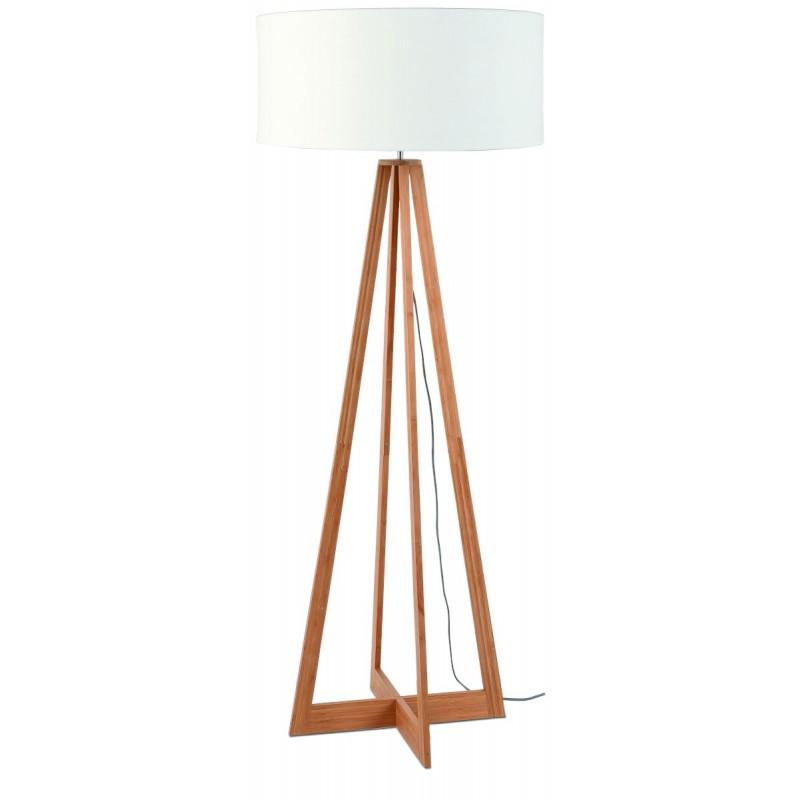 Lampada in legno in piedi in bambù e paralume di lino sempre più ecologico (naturale, bianco)