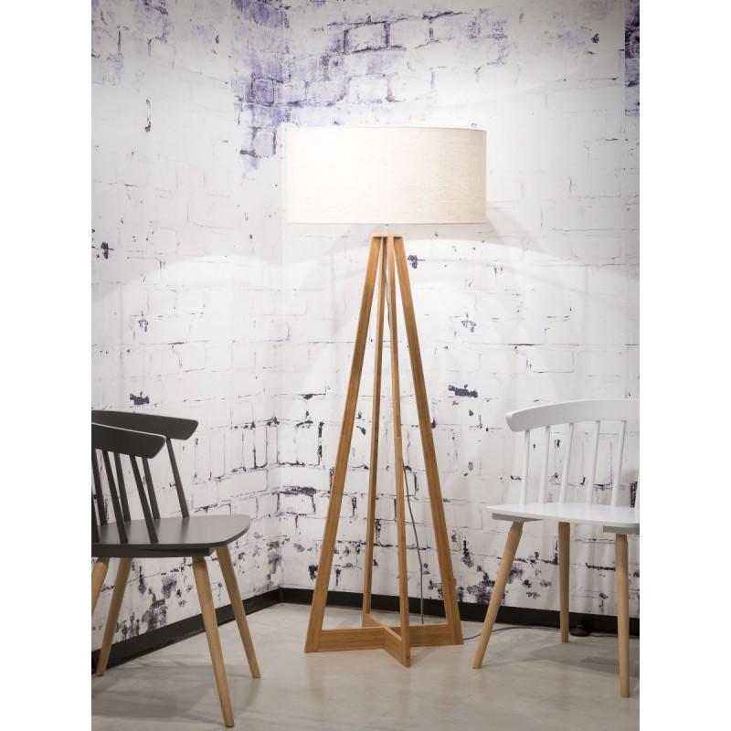 Lampada in legno in piedi in bambù e paralume di lino sempre più ecologico (naturale, bianco) - image 44582