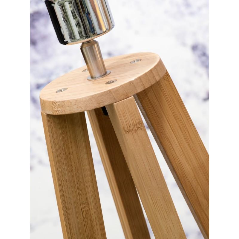 Lampada in legno in piedi in bambù e paralume di lino sempre più ecologico (naturale, bianco) - image 44584