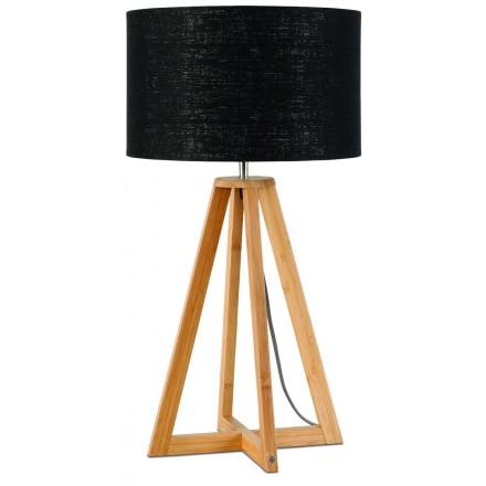 Lampada da tavolo Bamboo e paralume di lino sempre più ecologico (naturale, nero)