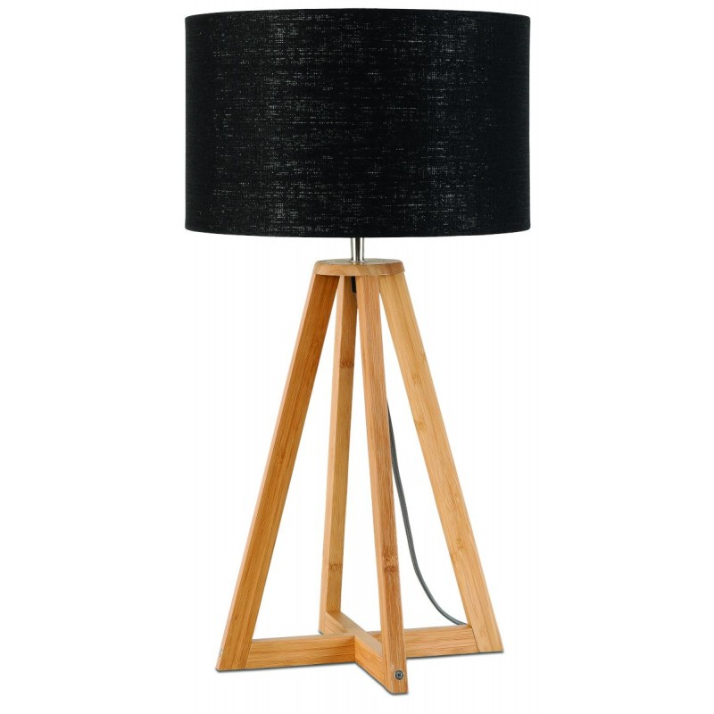 Bamboo table lamp and everEST eco-friendly linen lampshade (natural, black)