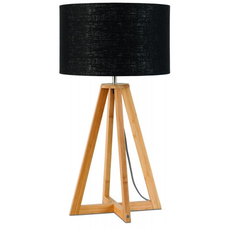 Lampe de table en bambou et abat-jour lin écologique EVEREST (naturel, noir) - image 44586