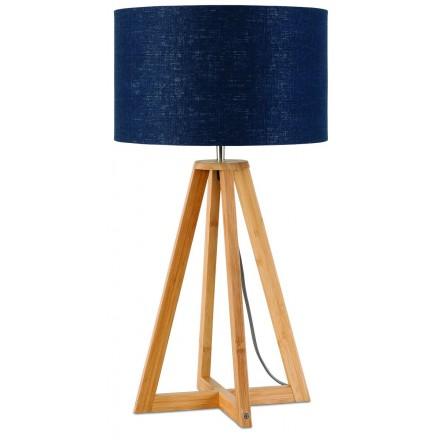 Lampada da tavolo Bamboo e paralume in lino sempre più ecologico (natural, blue jeans)