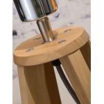 Lámpara de mesa de bambú y pantalla de lino ecológica cada vez más respetuosa (jeans naturales y azules)