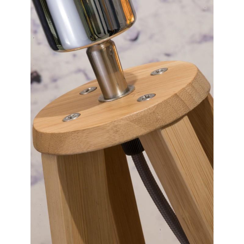 Lampe de table en bambou et abat-jour lin écologique EVEREST (naturel, bleu jeans) - image 44594