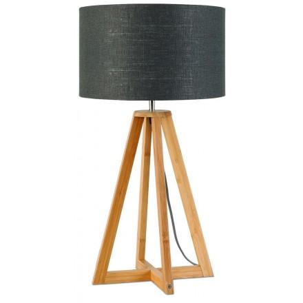 Lampada da tavolo Bamboo e lampada di lino eco-friendly sempre EST (naturale, grigio scuro)