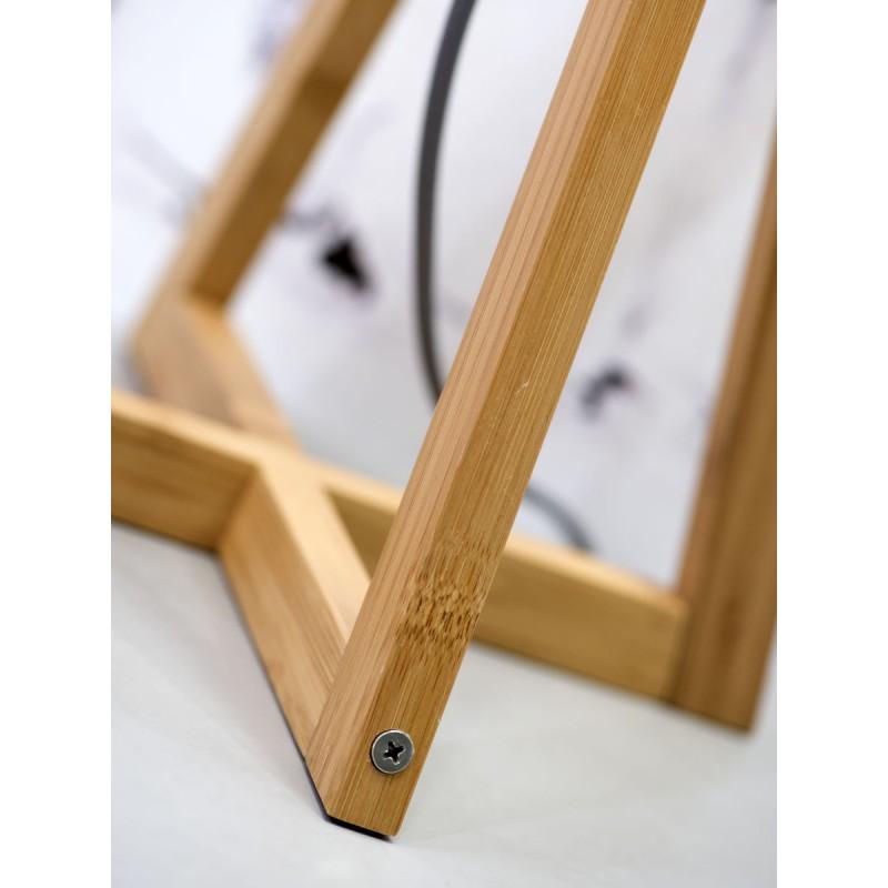 Lampe de table en bambou et abat-jour lin écologique EVEREST (naturel, gris foncé) - image 44600