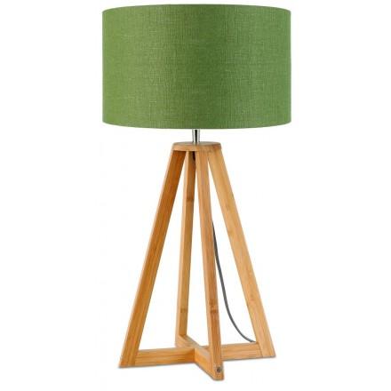 Lampada da tavolo Bamboo e lampada di lino eco-friendly sempreEST (naturale, verde scuro)