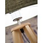 Lámpara de mesa de bambú y lámpara de lino ecológica everEST (natural, verde oscuro)