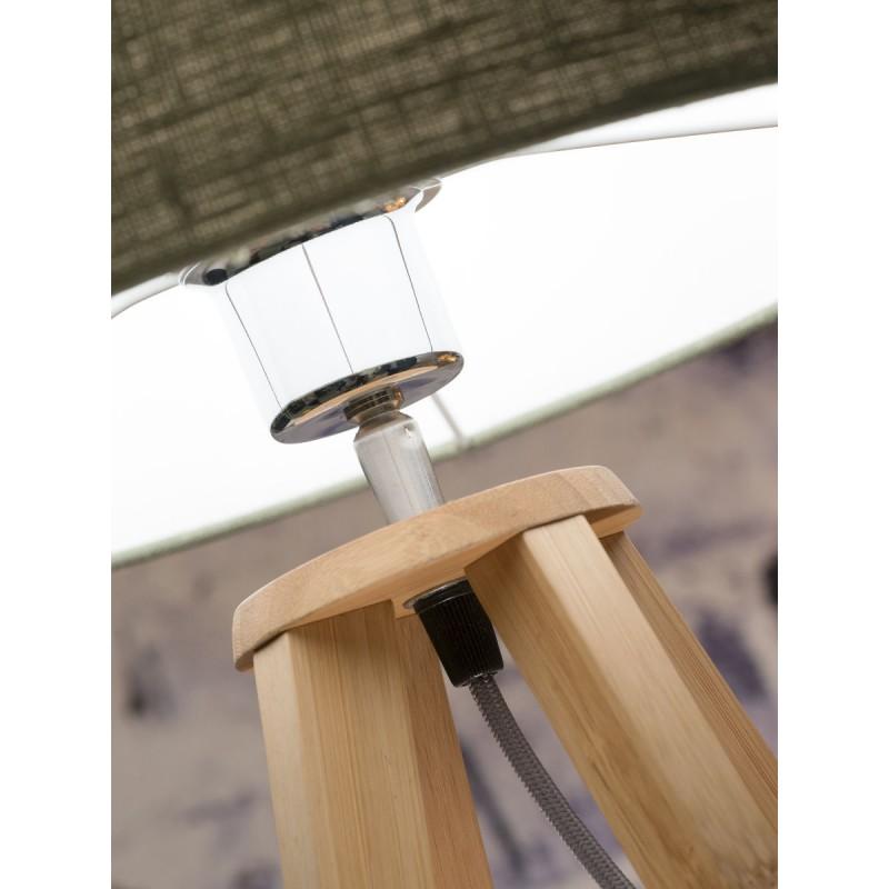Lampe de table en bambou et abat-jour lin écologique EVEREST (naturel, vert foncé) - image 44603