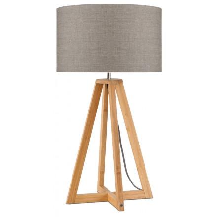 Bambus Tischleuchte und EVEREST umweltfreundliche Leinenlampe (natürliche, dunkle Bettwäsche)