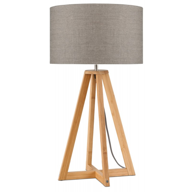 Lámpara de mesa de bambú y lámpara de lino ecológica EVEREST (natural, lino oscuro) - image 44606