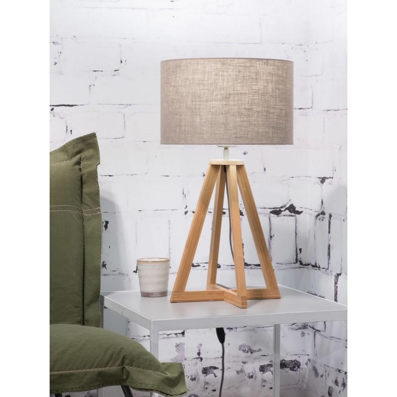 Lámpara de mesa de bambú y lámpara de lino ecológica EVEREST (natural, lino oscuro) - image 44607