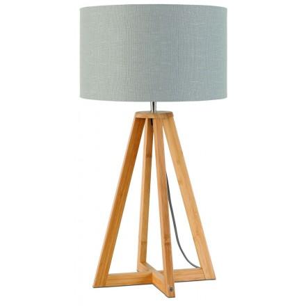 Bambus Tischleuchte und EVEREST umweltfreundliche Leinenlampe (natürlich, hellgrau)