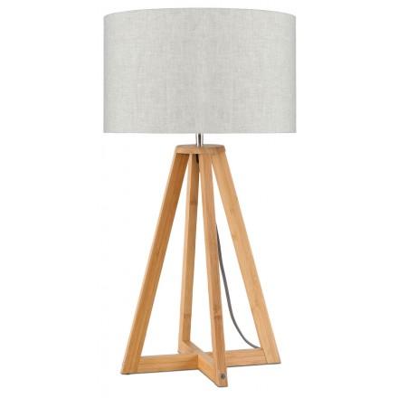 Bambus Tischleuchte und EVEREST umweltfreundliche Leinenlampe (natürliche, leichte Bettwäsche)