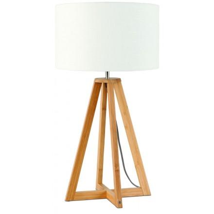 Lámpara de mesa de bambú y pantalla de lino ecológica cada vez más respetuosa (natural, blanca)