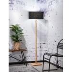 Lámpara de pie de bambú y pantalla de lino ecológica FUJI (natural, negro)