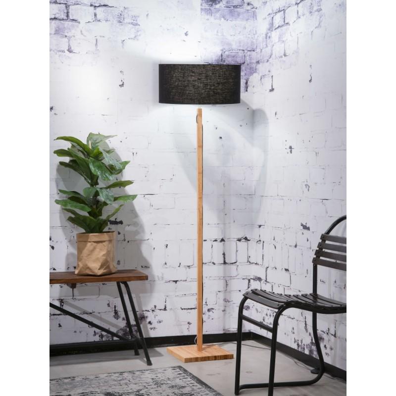 Lampe sur pied en bambou et abat-jour lin écologique FUJI (naturel, noir) - image 44627