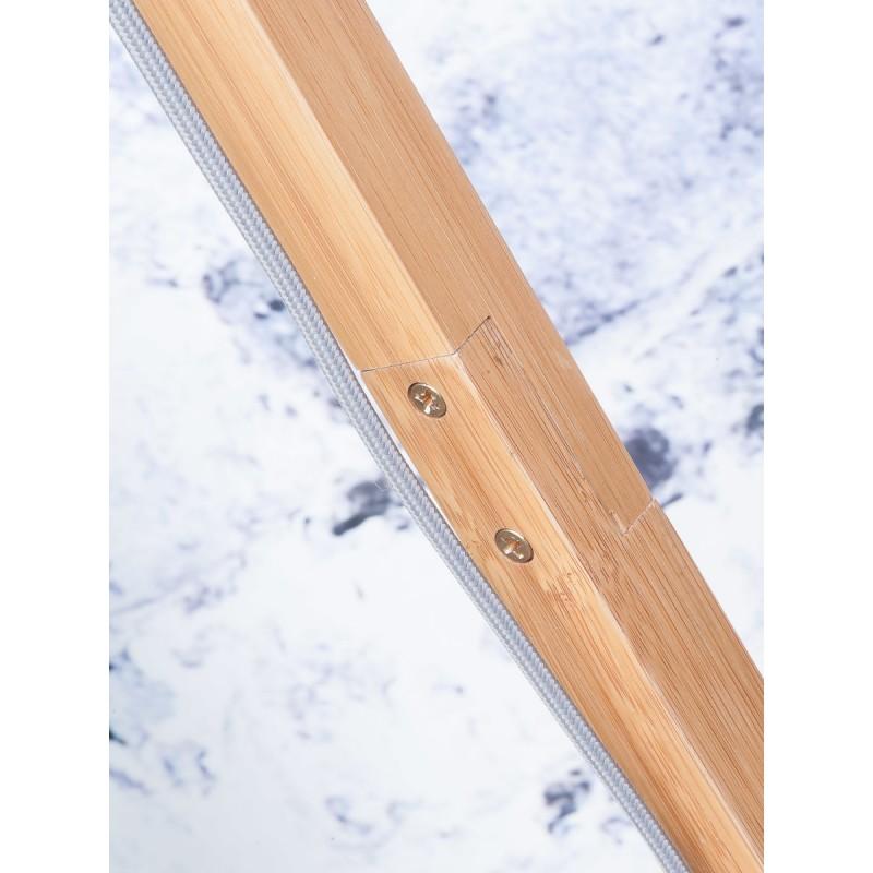 Lampe sur pied en bambou et abat-jour lin écologique FUJI (naturel, bleu jeans) - image 44635