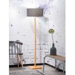 Lampe sur pied en bambou et abat-jour lin écologique FUJI (naturel, gris foncé)
