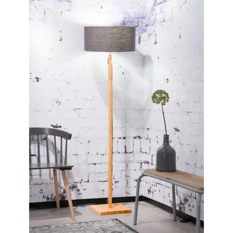 Lampe sur pied en bambou et abat-jour lin écologique FUJI (naturel, gris foncé) - image 44637