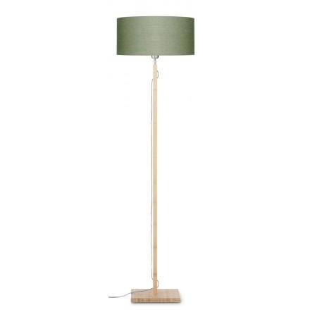 Bambus Stehlampe und FUJI umweltfreundliche Leinen Lampenschirm (natürlich, dunkelgrün)