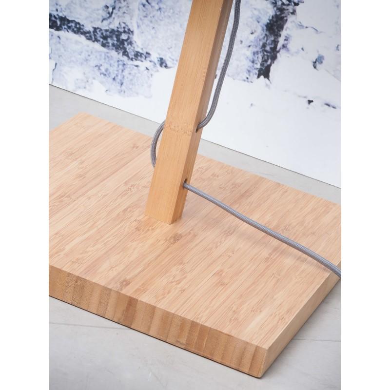 Lámpara de pie de bambú y pantalla de lino ecológica FUJI (natural, verde oscuro) - image 44643