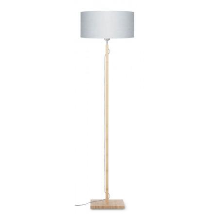 Lampe sur pied en bambou et abat-jour lin écologique FUJI (naturel, gris clair)