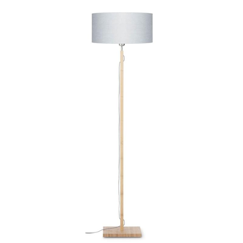 Lampada in legno in piedi con bambù e paralume di lino eco-friendly FUJI (naturale, grigio chiaro)