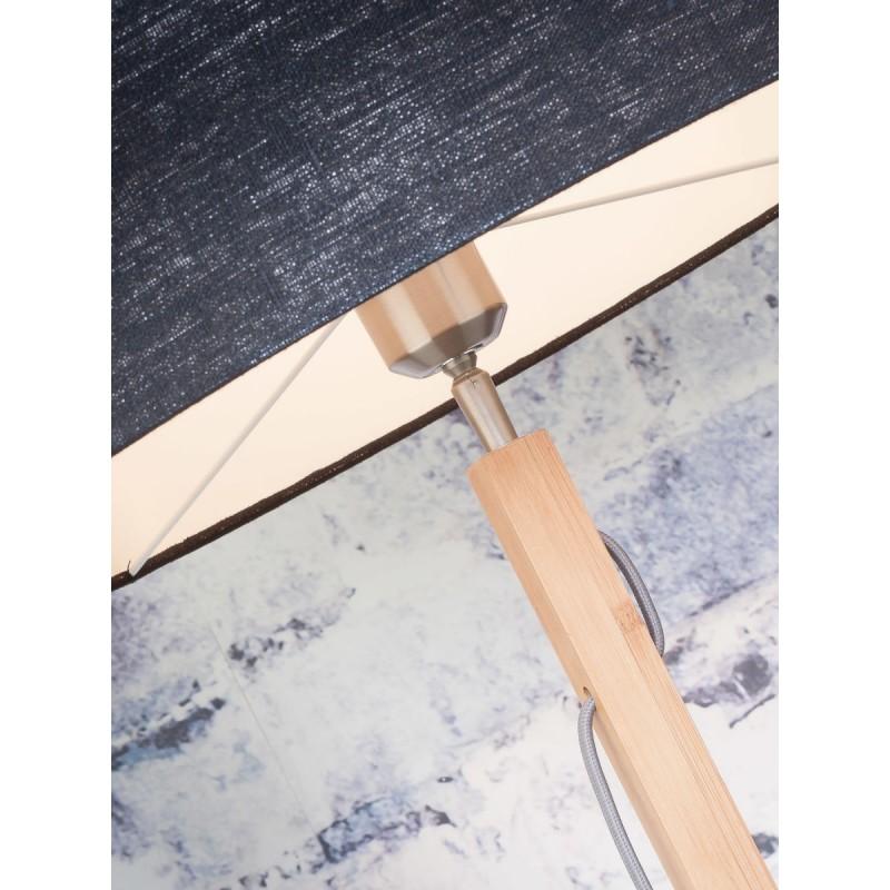 Lampada in legno in piedi con bambù e paralume di lino eco-friendly FUJI (naturale, grigio chiaro) - image 44654