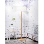 Lampada in legno in piedi con bambù e paralume di lino eco-friendly FUJI (naturale, bianco)