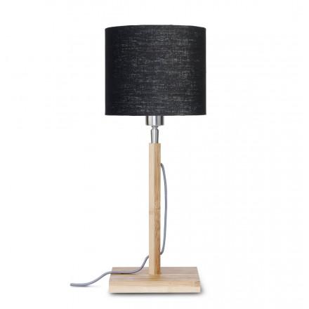 Lampada da tavolo Bamboo e paralume di lino ECO-friendly FUJI (naturale, nero)