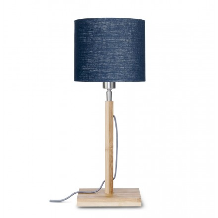 Lampada da tavolo Bamboo e paralume di lino eco-friendly FUJI (natural, blue jeans)