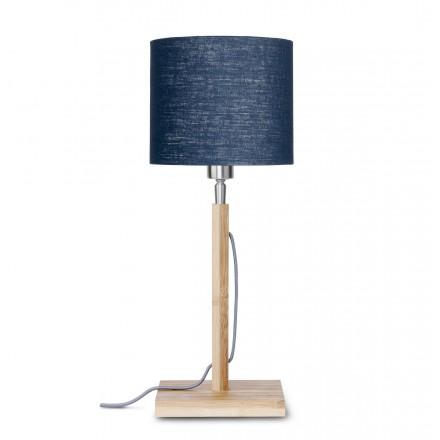 Lámpara de mesa de bambú y pantalla de lino ecológica FUJI (jeans naturales y azules)