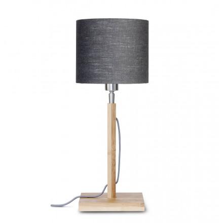 Lámpara de mesa de bambú y pantalla de lino ecológica FUJI (natural, gris oscuro)