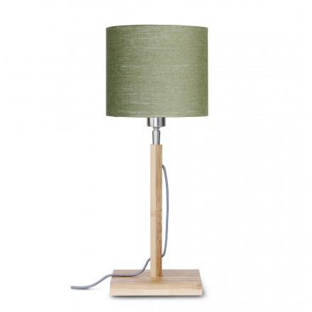 Lámpara de mesa de bambú y pantalla de lino ecológica FUJI (natural, verde oscuro)