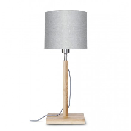 Lámpara de mesa de bambú y pantalla de lino ecológica FUJI (natural, gris claro)