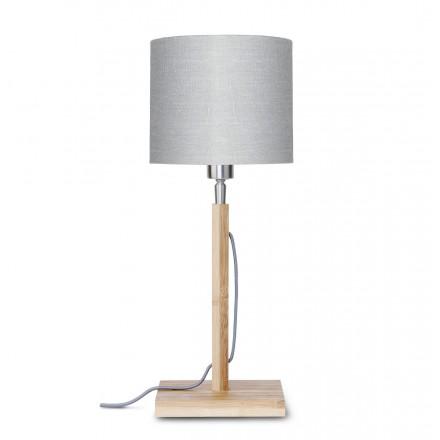 Lampe de table en bambou et abat-jour lin écologique FUJI (naturel, gris clair)