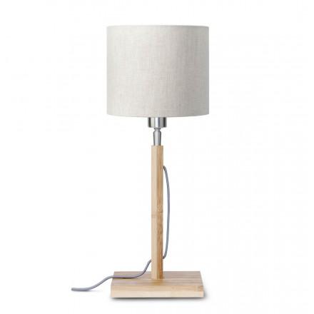 Bambus Tischlampe und FUJI umweltfreundliche Leinen Lampenschirm (natürliche, leichte Leinen)