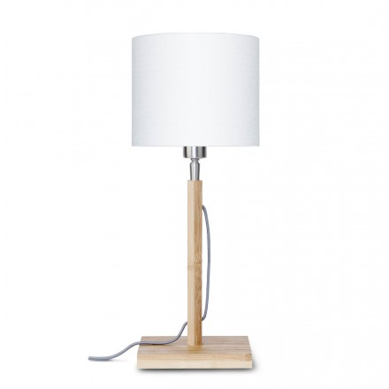 Lámpara de mesa de bambú y pantalla de lino ecológica FUJI (natural, blanca)