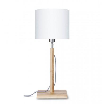 Lampe de table en bambou et abat-jour lin écologique FUJI (naturel, blanc)