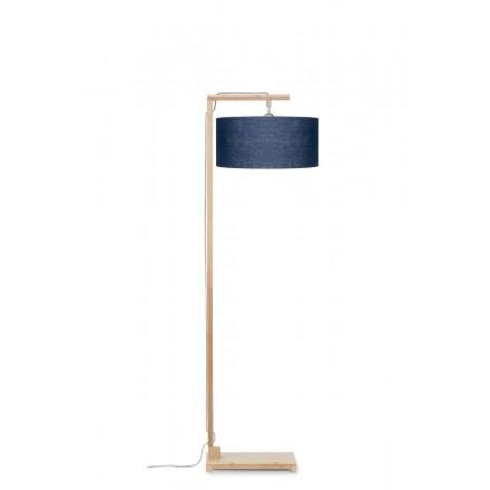 Lampe sur pied en bambou et abat-jour lin écologique HIMALAYA (naturel, bleu jeans)