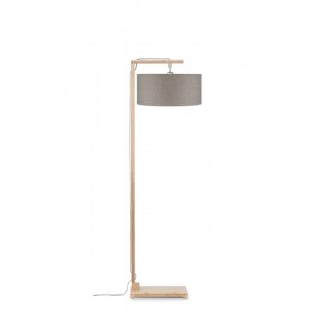Bambus Stehlampe und HIMALAYA ökologische Leinen Lampenschirm (natürliche, dunkle Leinen)