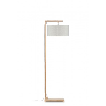 Lampada in legno in piedi in bambù e paralume di lino ecologico HIMALAYA (lino naturale e leggero)
