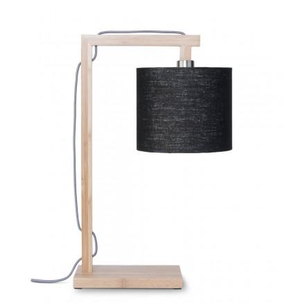 Bambus Tischlampe und himalaya ökologische Leinen Lampenschirm (natürlich, schwarz)